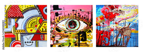 Obraz na plátne set of unusual original art abstract composition of human eye and abstract compo