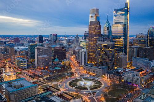 Obraz na plátně Aerial of Logan Circle Philadelphia