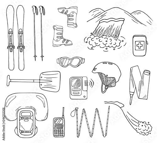 Slika na platnu Set of hand-drawn avalanche safety gear icons