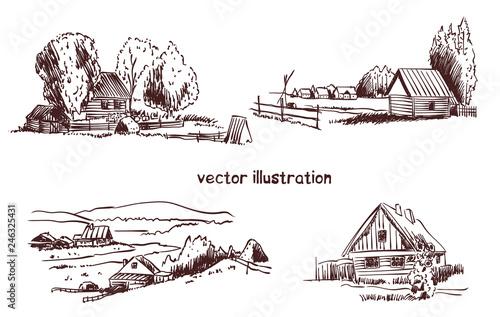 Obraz na płótnie handwritten sketch of rural house