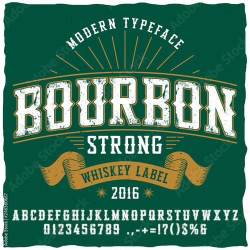 Bourbon Whiskey Typeface Poster Fototapeta