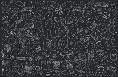 Obraz na plátně Fast food elements.