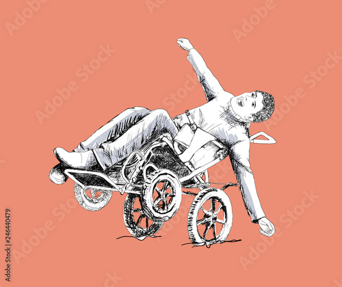 Tableau sur Toile Happy man in a wheelchair