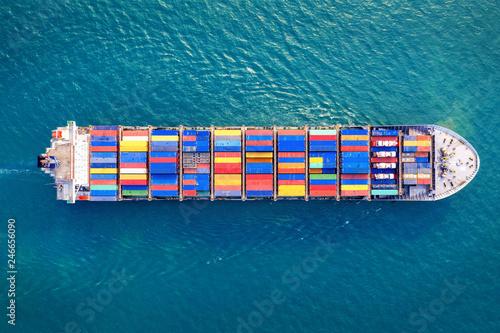 Fototapeta Aerial view of container cargo ship in sea.