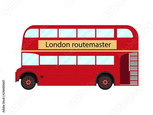 Fotografiet Red double decker bus symbol of London - vector illustration