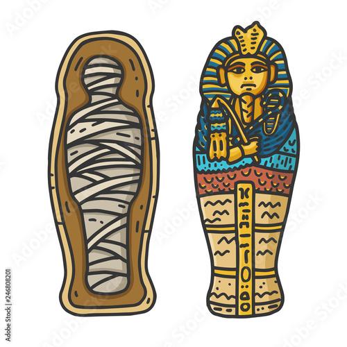 Photo Ancient Egyptian Pharaon Tutankhamun's Sarcophagus with a bandaged Mummy Inside