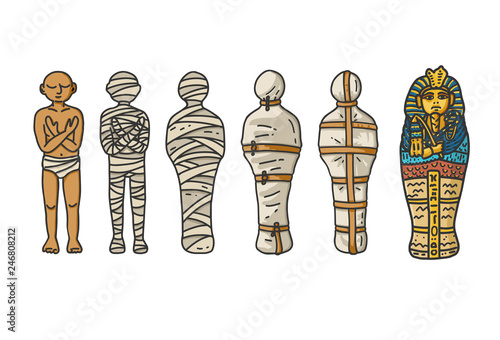 Fotografia Mummy creation; A six step process showing how the ancient egyptians bandaging their dead during embalming