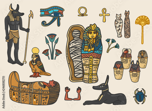 Fotografia Set of ancient egyptian religion and cultural elements including sarcophagus, eye of horus, mummy, scarab, anubis, canopic jars; ka; ba; floral decoration elements