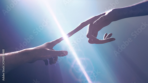Leinwand Poster Extraterrestrial hand contact human hand - alien first contact  - artistic repre
