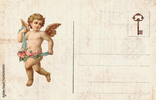 Fotografía Vintage Valentine Day Card with cherubs and heart