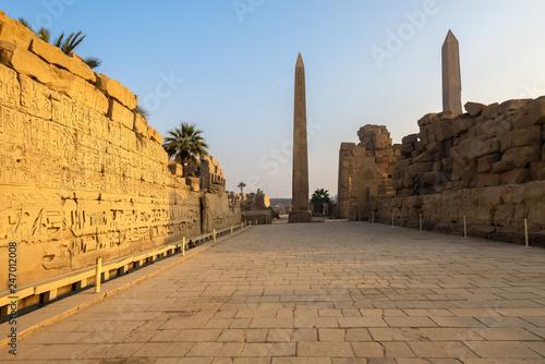 Obraz na plátně Karnak Temple Complex with Queen Hatshepsut obelisk in the background, Luxor, Eg