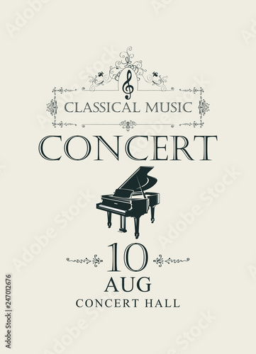 Foto Vector poster for concert or festival of classical music in vintage style with g