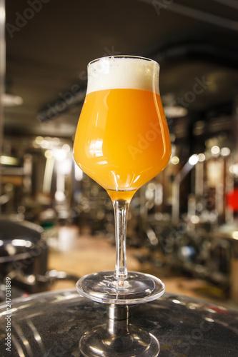 Obraz na plátně Hazy IPA beer at the brewery