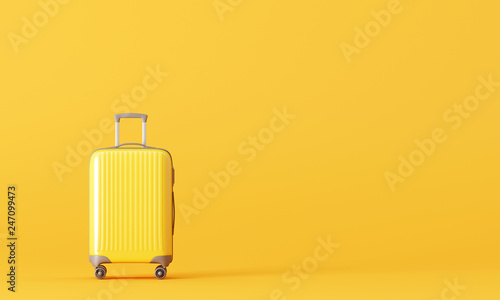 Fotografia Suitcase on yellow background. travel concept. 3d rendering