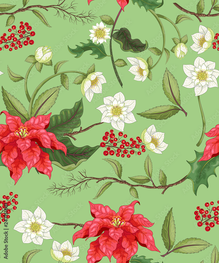 Poinsettia and hellebore flowers and berries floral pattern background