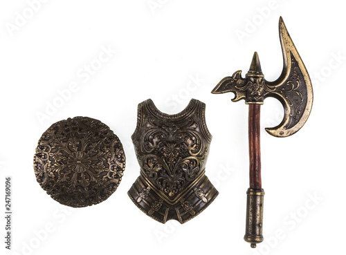 Obraz na plátne knight armor and weapons on a white isolated background