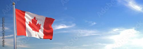 Obraz na płótnie Drapeau du Canada se levant dans le vent avec le ciel en arrière-plan