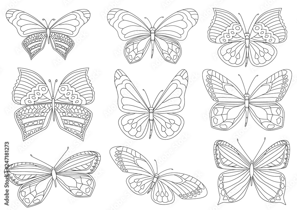 collection of lovely butterflies for your coloring book <span>plik: #247181273 | autor: Aloksa</span>
