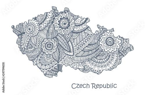 Canvas Print Textured vector map of Czech Republic