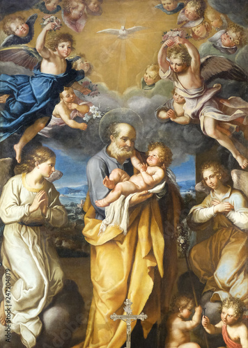 Leinwand Poster St Joseph with baby Jesus altarpiece by Francesco Cozza in Chapel Chapel of St J