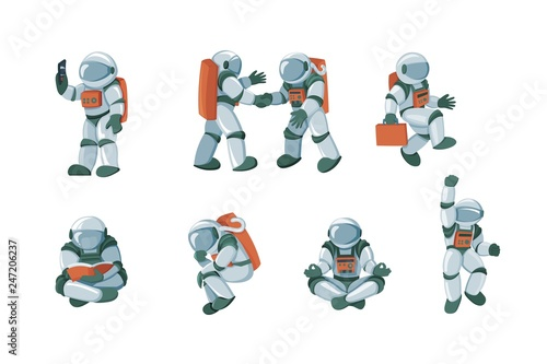 Tableau sur Toile Cartoon spaceman, cosmonaut, spacesuit vector set isolated on white background