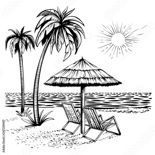 Fototapeta Beach view with palm, lounger and parasol, vector sketch illustration