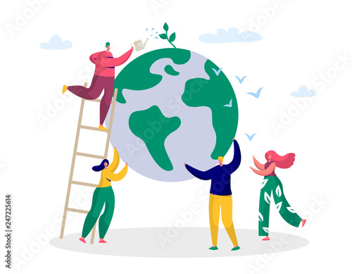Wallpaper Mural Earth Day Man Save Green Planet Environment
