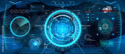 Tablou Canvas Cockpit helmet, Futuristic VR Head-up Display Design