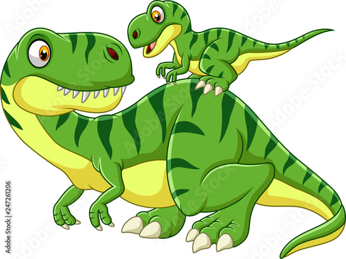Cartoon Mother and baby dinosaur Fototapete