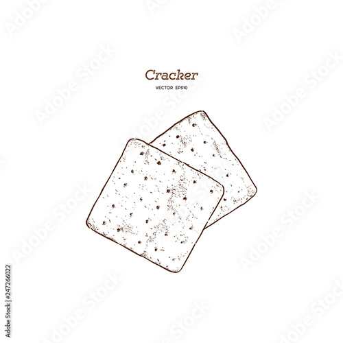 Fényképezés Cracker, Hand draw sketch vector.