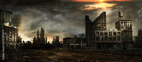 Fotografia Stormy sky over city ruins