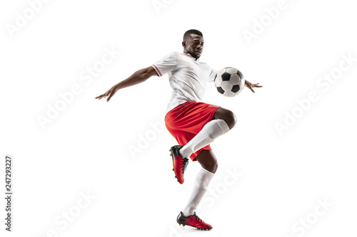 Obraz na płótnie Professional african american football soccer player in motion isolated on white studio background