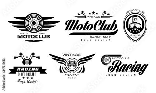 Stampa su Tela Vector set of original emblems for moto racing club