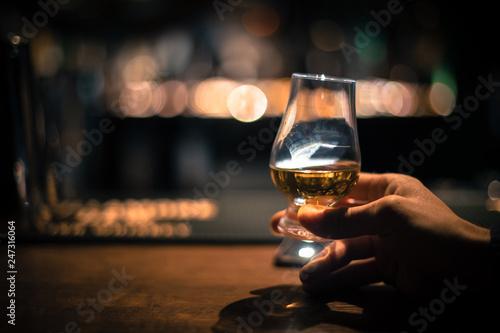 Hand holding a Glencairn single malt whisky glass Fototapeta