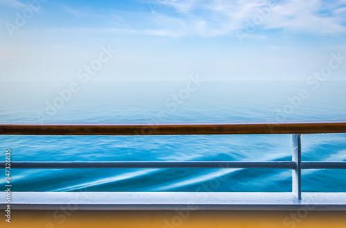 Obraz na plátně Cruise ship railing with ocean view.