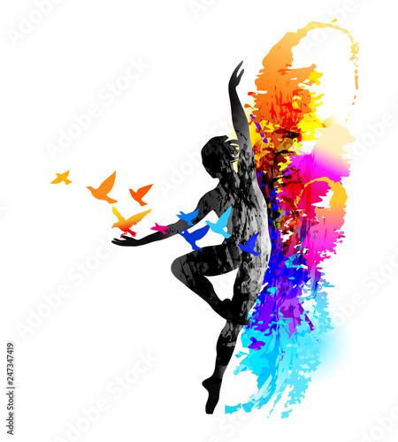 Canvas-taulu Ballet dancer, aerobics, gymnastics