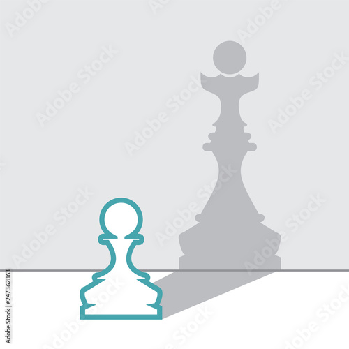 Fotografiet White pawn with queen shadow