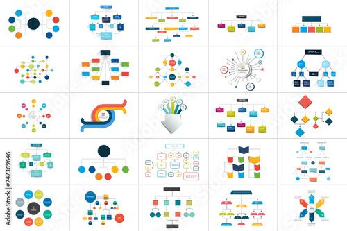 Photo Mega set of various  flowcharts schemes, diagrams