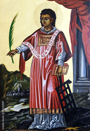 Canvastavla Saint Lawrence of Rome altarpiece in the Saint Lawrence church in Kleinostheim,