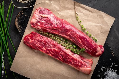 Leinwand Poster raw bavet beef tenderloin steak, alternative cuts for grill, top view