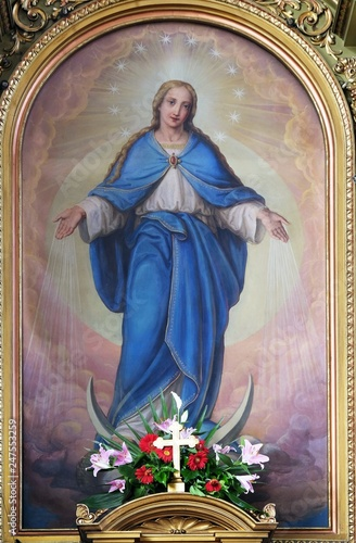 Canvastavla Our Lady, altarpiece in the Basilica of the Sacred Heart of Jesus in Zagreb, Cro