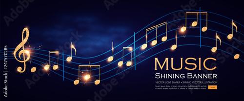 Obraz na płótnie Music Notes and Treble Clef on Swirling tave