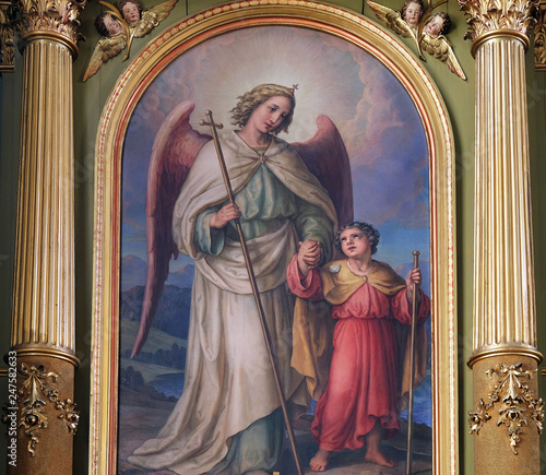 Slika na platnu Guardian angel, altarpiece in the Basilica of the Sacred Heart of Jesus in Zagre