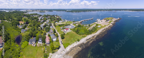 Obraz na plátne Portsmouth Harbor Lighthouse and Fort Constitution State Historic Site panorama aerial view in summer, New Castle, New Hampshire, USA