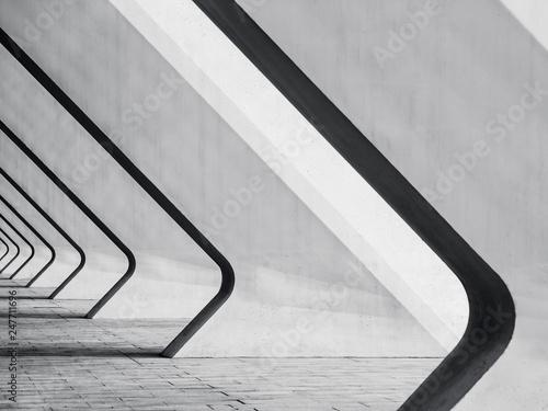 Fototapeta premium Szczegóły architektury Nowoczesny budynek Beton Odchylenie kolumny perspektywy przestrzeni Abstrakcyjne tło