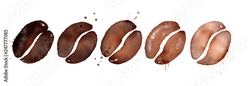 Fotografiet Watercolor illustration of coffee roasting levels
