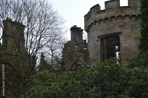 Fototapeta The striking ruins of Crawford Priory, Springfield, Cupar, Fife, extended in early 19th century