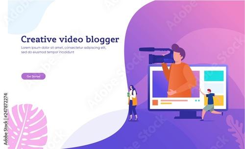 Photo creative vlog content vector illustration concept, people recording content vide