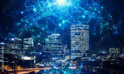 Fényképezés Business district and wireless technologies