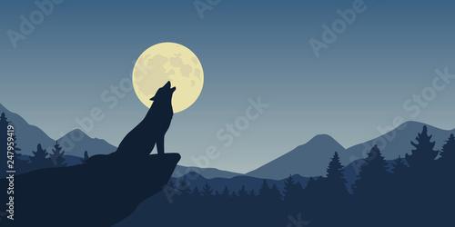 wolf howls at full moon blue nature landscape vector illustration EPS10